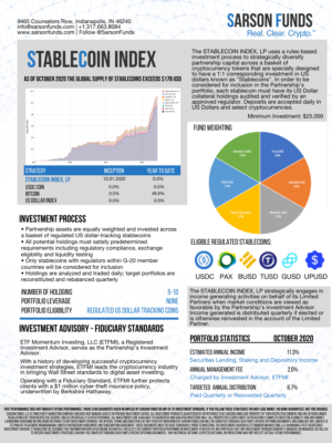 Sarson Funds Stablecoin Index Fact Card For USD-based Crypto Investing